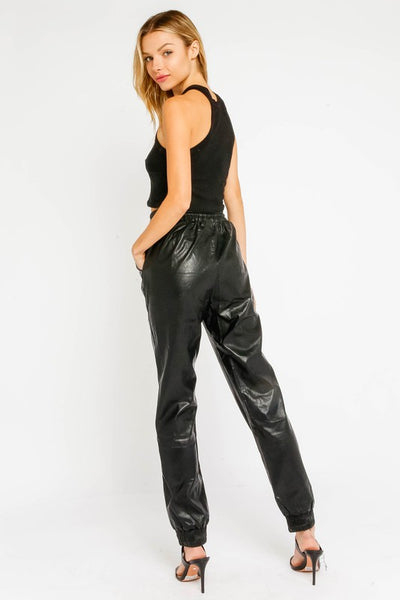 Run The Show Leather Jogger - Black