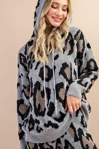 Warm Wishes Leopard Hoodie Sweater - Gray