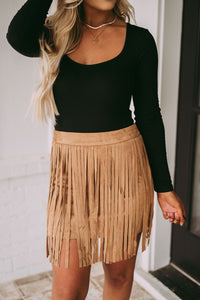 Claim To Fame Fringe Skirt- Tan