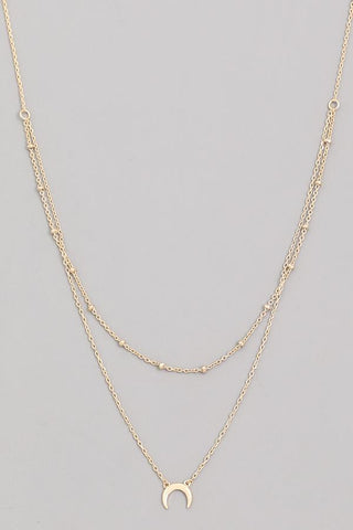 The Sun & Moon Layered Crescent Necklace - Gold
