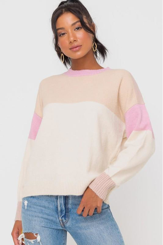 Happy Days Color Block Sweater - Pink