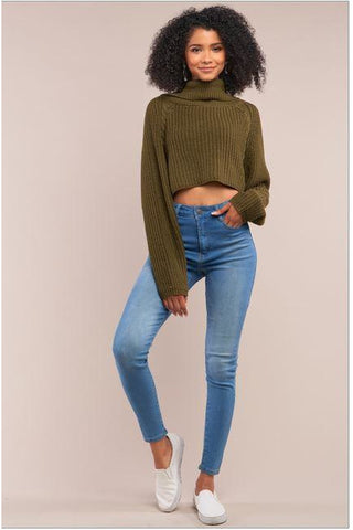 Comfort Is Key Turtleneck Sweater - Olive