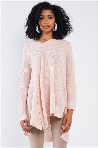 Casual Encounter V-Neck Sweater - Pink