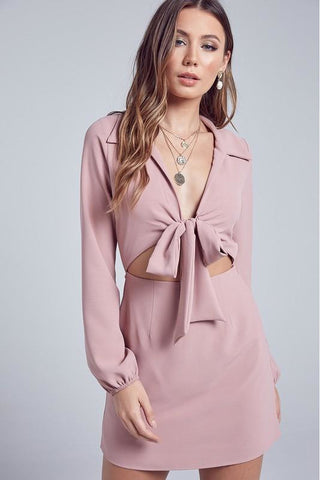 Princess Polly Tie Front Long Sleeve Dress - Pink