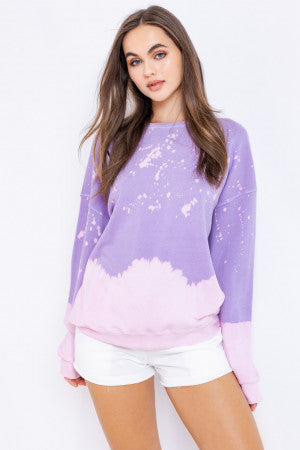 Space Dust Tie Dye Sweatshirt - Purple