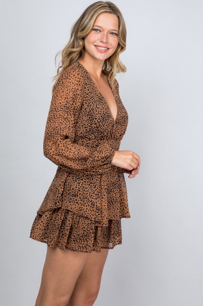 Tiger Queen Long Sleeve Romper - Leopard