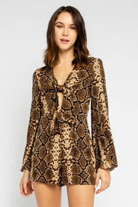 Eye Of The Tiger Long Sleeve Romper - Animal Print