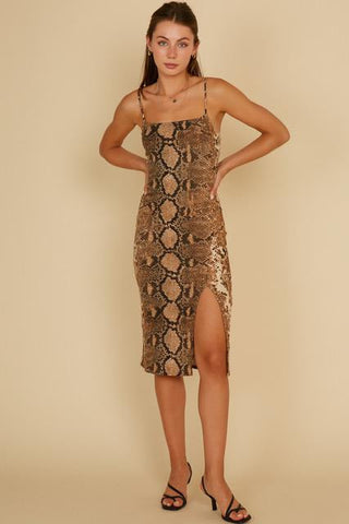 Keep It Catty Front Slit Midi Dress - Animal Print