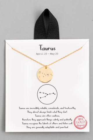 Taurus Zodiac Sign Necklace - Gold