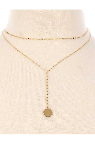 Think Twice Layered Coin Necklace - Gold