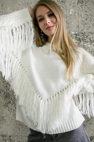 Take You Out Fringe Sweater - White