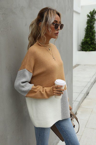Take Me To Vail Color Block Knit Sweater - Camel