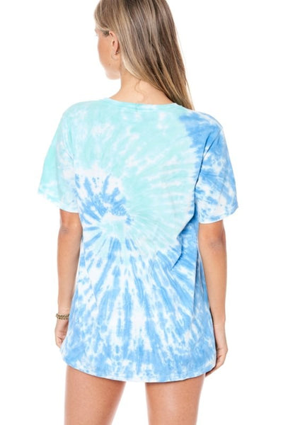 Rock My World Tie Dye Graphic Tee - Blue