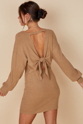 Like You A Knot Sweater Dress - Camel