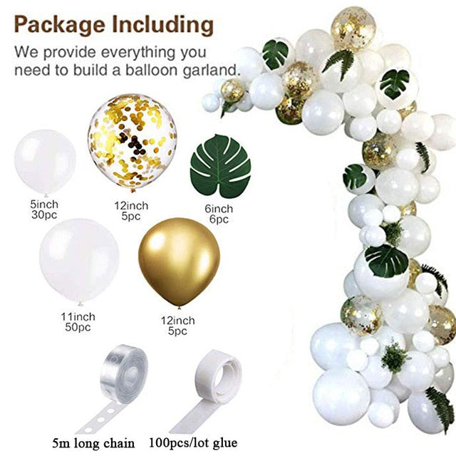 98pcs Balloon Garland Arch Kit White Gold Confetti Balloons