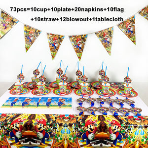 73PCS/LOT Disposable Tableware For Birthday Party Supplies Super Mario Bros