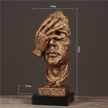 32cm Resin Silence is Gold Mask Statue