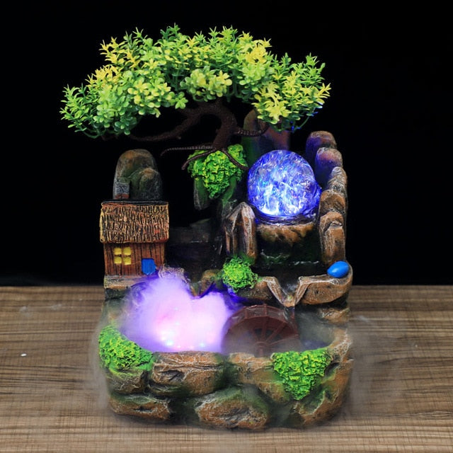 Led Lights Resin Rockery Flowing Water Fountain