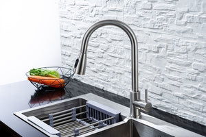 Kitchen Faucet Blacked Single Handle Pull Down White Kitchen Tap