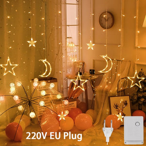 LED icicle Star Moon Lamp Fairy Curtain String Lights Christmas