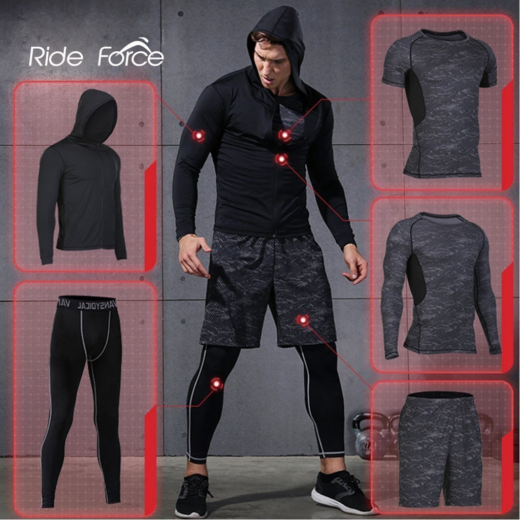 5 Pcs/Set Men's Tracksuit Sports Suit Gym Fitness