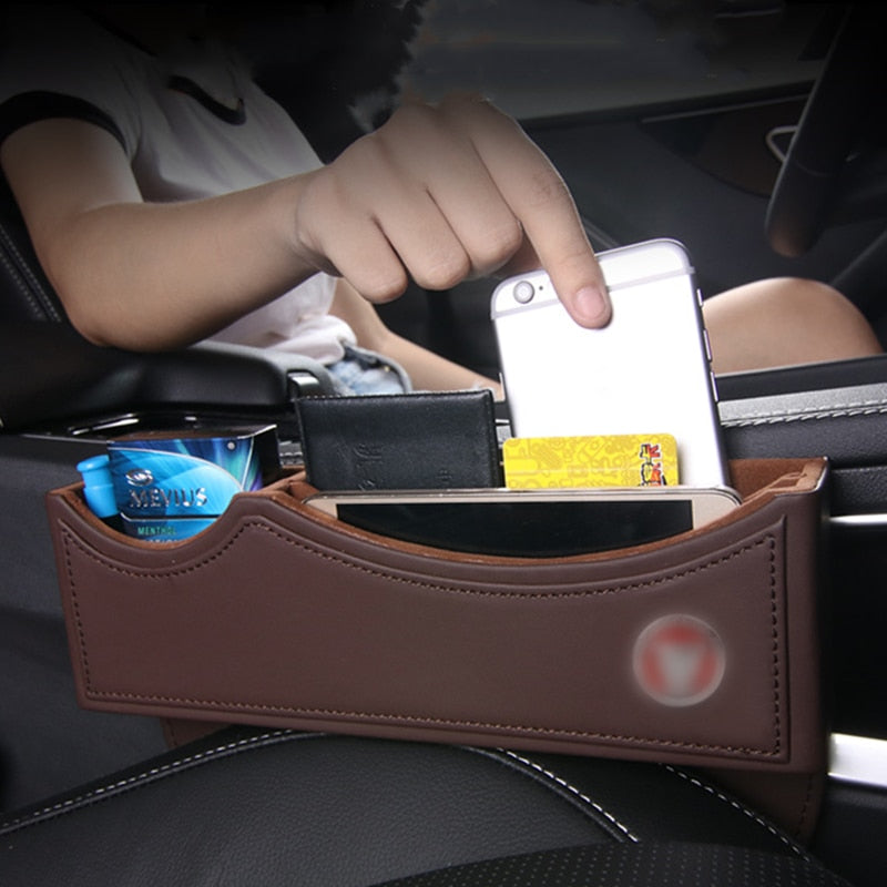 Car Seat Gap Storage Box Cup Phone Holder Leather Decoration