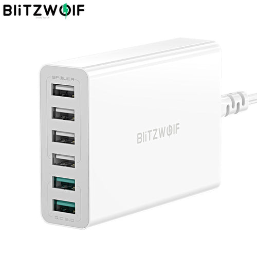 BlitzWolf 60W Dual QC3.0 6 Port USB PD Phone Charger