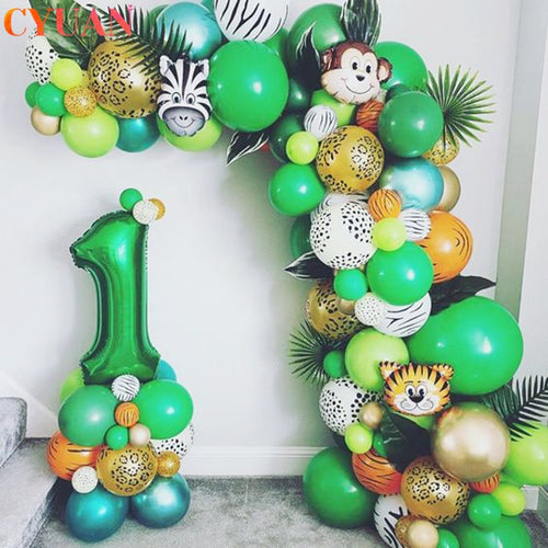 109pcs Palm Leaf Animal Balloons Garland Arch Kit Jungle Safari Party