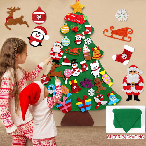 DIY Felt Christmas Tree Decor Santa Claus Kids Toys Christmas Decor