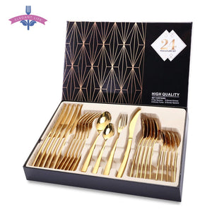 24PCS Gold Tableware Cutlery Dinner Set Cutlery Sets