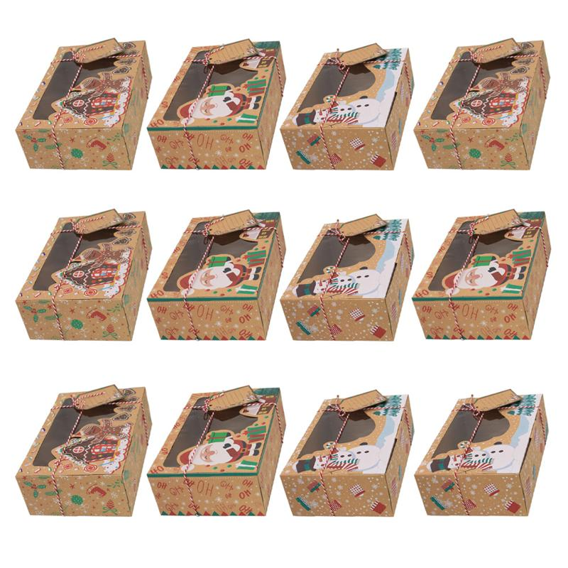 12pcs Kraft Paper Portable Christmas Gift Box Party Favor Holders