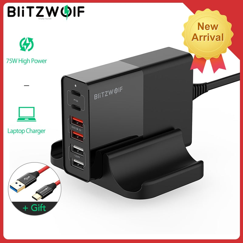 BlitzWolf BW-S16 75W Dual 6 Port USB PD QC 3.0 Phone Charger