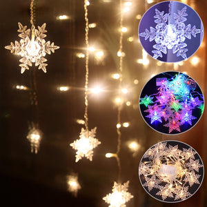 Outdoor Xmas Snowflake LED String lights Flashing Lights