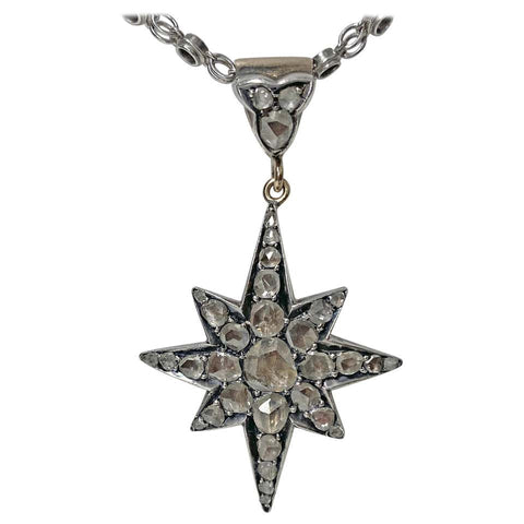 Diamond Star Sunburst Pendant, circa 1900