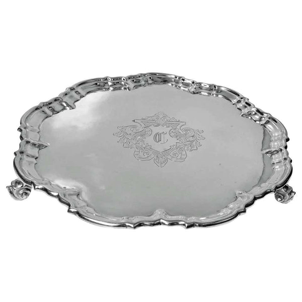 Antique Silver Salver, London 1892 Edward Hutton William Hutton and Sons