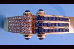 Gold Diamond and Sapphire Bangle and Earrings Set