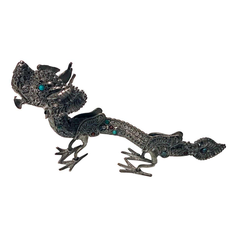 Sterling Silver and Color Stone Inlay Dragon, Probably Chinese, circa 1950