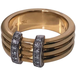 French 18K Omega Diamond Ring