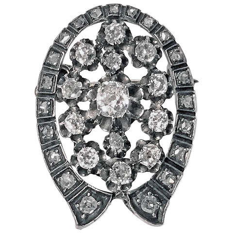 French Antique Diamond Brooch Pendant, C.1870