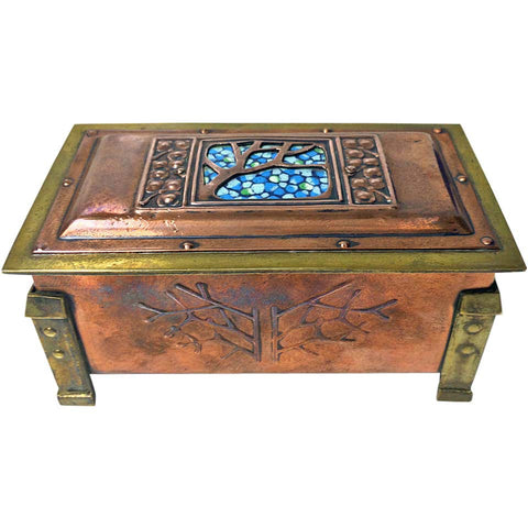 Rare Size Arts and Crafts Enamel Copper and Brass Box, circa 1900