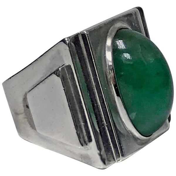 Striking Art Deco Architectural Design Ring, French Import Mark, circa 1920