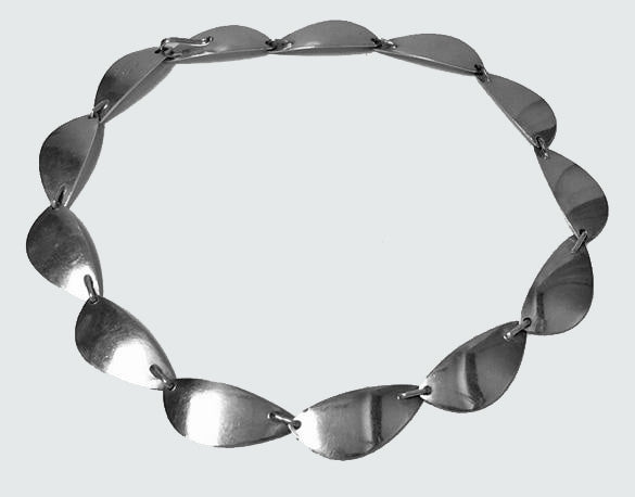 Hans Hansen Sterling Silver Necklace Denmark C. 1968