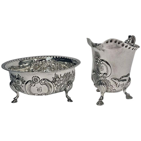 Irish Style Silver Cream Jug and Sugar Bowl, Birmingham, 1913-1914