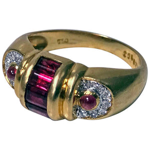 1980s 18 Karat Ruby and Diamond Ring