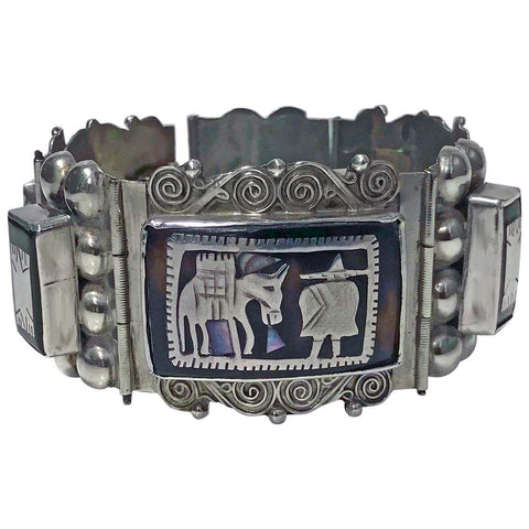 Mexican Sterling Silver inlay handmade Bracelet 1930's