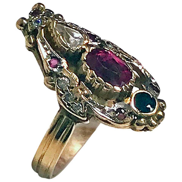 14 Karat Art Nouveau Style Paste Ring, circa 1930