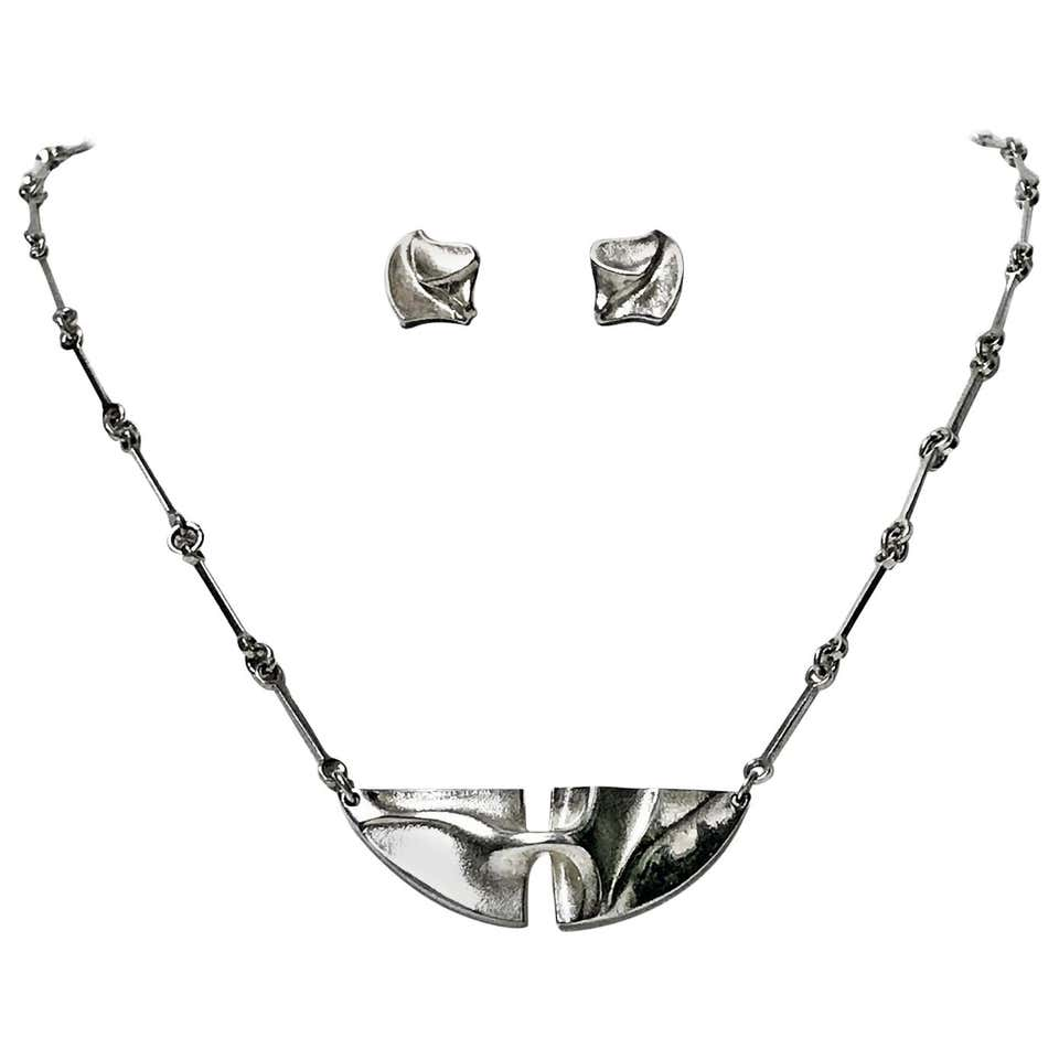 Lapponia Sterling Necklace and Earrings, Finland, circa 1978