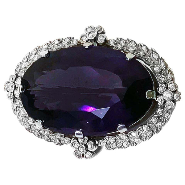 Antique Platinum Amethyst Diamond Brooch Pendant, English C.1910