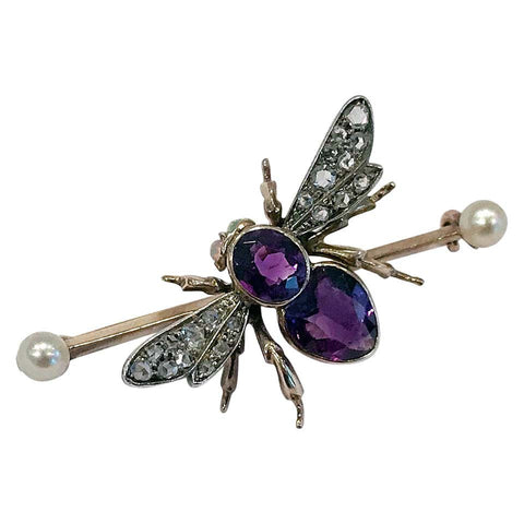 Antique Gold Fly Bee Brooch English C. 1900 Suffragette