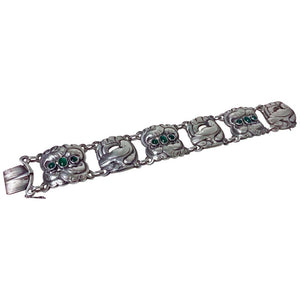 Georg Jensen Sterling Chrysoprase Dove Bracelet 1933-1944 Mark